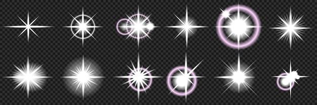 Explosões de estrelas com brilhos e efeitos de luz brilhantes