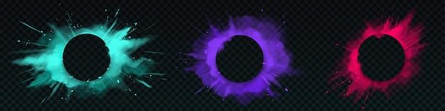 Explosões de pó colorido com banner circular