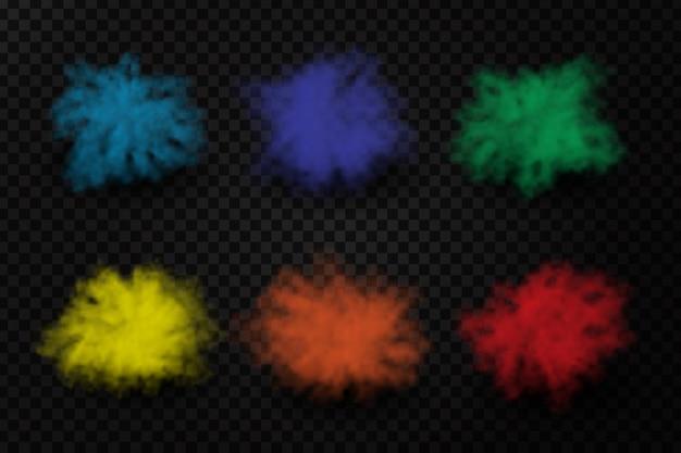 Explosões realistas de pó de tinta no fundo transparente. efeito de fumaça colorida realista para decoração