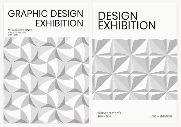 Exposição de arte modelo geométrico vetor anúncio pôster geométrico estilo moderno conjunto duplo