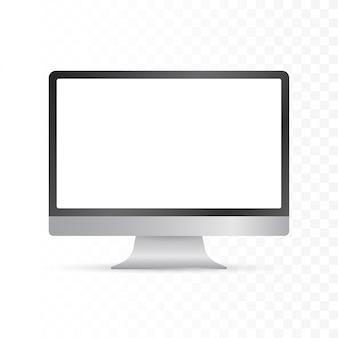 Exposição de computador isolada em realista no fundo branco. ilustração.