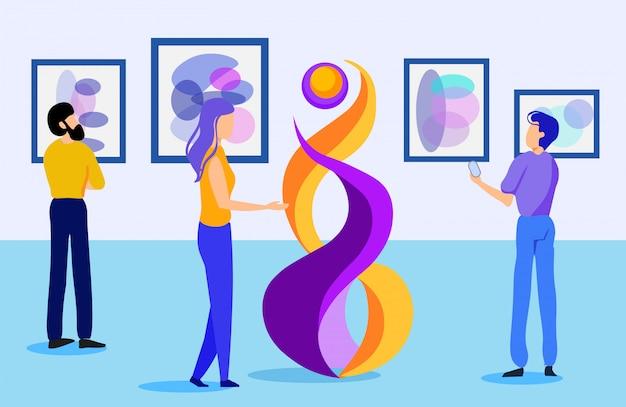 Exposição de galeria de arte plana com visitantes de desenhos animados Vetor Premium