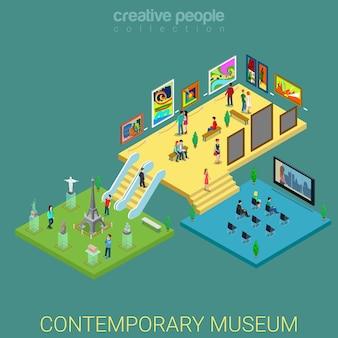 Exposição de meseum de arte contemporânea com isometria plana