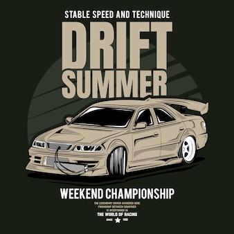 Exposição de modificação, cartaz de um carro de corrida esportivo