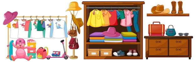 Exposição de objetos de acessórios de roupa