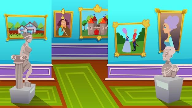 Exposição de pinturas de artistas modernos e antigos
