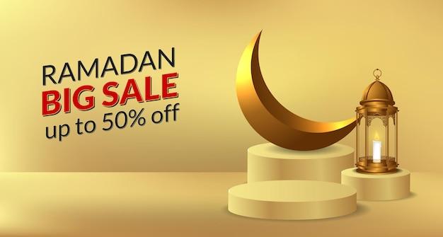 Exposição de produto em pódio cilíndrico para o ramadã com ilustração de lâmpada de lanterna dourada e lua crescente dourada para modelo de banner de oferta de venda