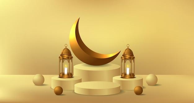 Exposição de produto em pódio de cilindro para o ramadã com ilustração de lâmpada de lanterna dourada e decoração de lua crescente dourada