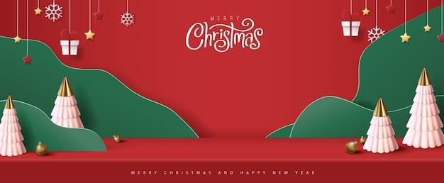 Exposição de produtos de mesa de estúdio de banner feliz natal com espaço de cópia
