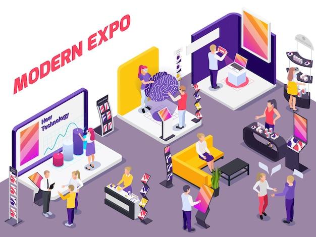 Exposição de produtos de tecnologia inovadora e moderna mostra estandes de promoção com visitantes assistentes compradores potenciais composição isométrica