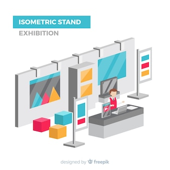 Exposição de stand isométrico