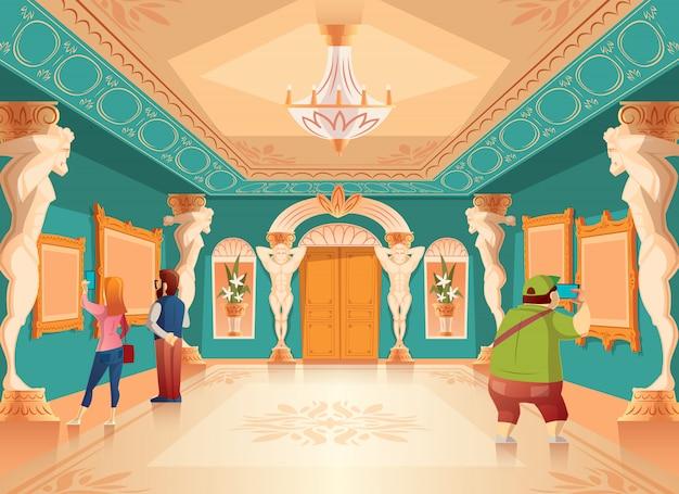 Exposição do museu dos desenhos animados do vetor com imagens e visitantes no salão de baile real com colunas do atlas. ar
