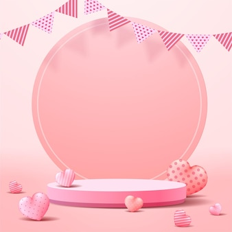 Exposição do pódio do dia dos namorados. apresentação de produtos em stand. estilo 3d realista.