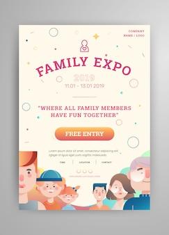 Exposição familiar com pais e crianças layout de cartaz avatar