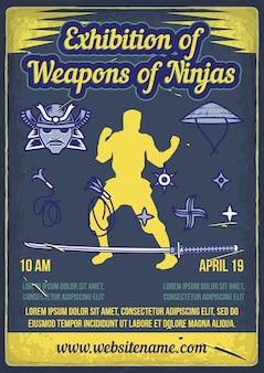 Exposição impressa de armas dos ninjas