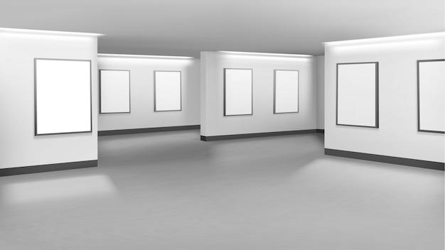 Exposição mínima de galeria de arte vazia