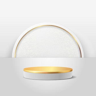 Exposição redonda abstrata para o produto. cena mínima com formas geométricas. pódio cilindro de ouro