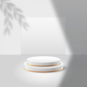 Exposição redonda abstrata para o produto. cena mínima com formas geométricas. pódio do cilindro
