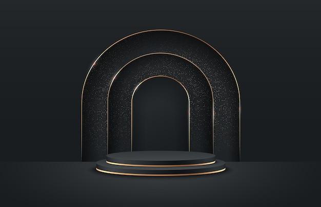 Exposição redonda abstrata para o produto no site em moderno.