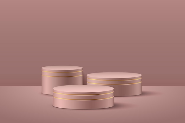 Exposição redonda de luxo abstrata para o produto no site na modernidade.