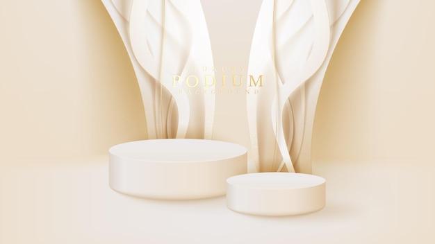 Expositor branco realista com cena de linhas curvas douradas, pódio mostrando o produto para vendas e marketing de promoção. fundo de estilo luxuoso. ilustração em vetor 3d.