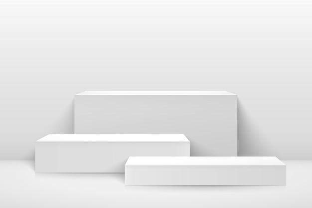 Expositor de cubo branco abstrato para apresentação do produto