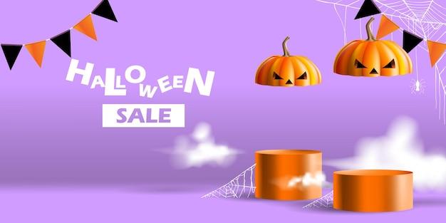 Expositor de estande ou venda de exibição de pódio com conceito de halloween para promoção de produto ou banner