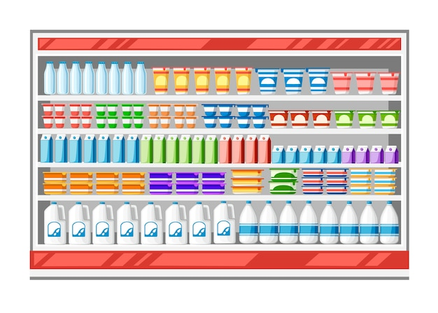 Expositor de geladeira para resfriar laticínios