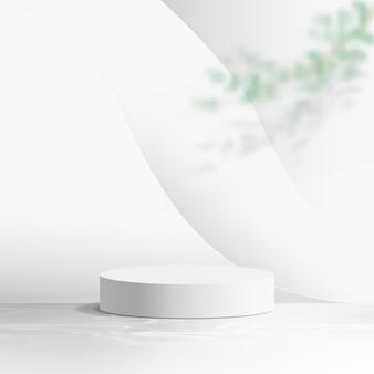Expositor de produto branco com galho de árvore e pano de fundo ondulado liso abstrato. pódio 3d.