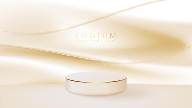 Expositor de produto pódio com linha curva dourada sobre fundo de tela luxuosa. espaço vazio para produtos de beleza ou cosméticos de lugar, ilustração vetorial realista 3d.