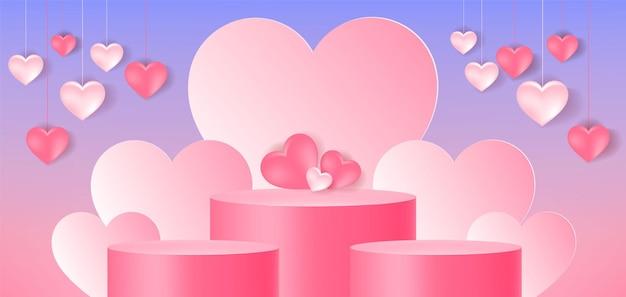 Expositor de produto, pódio, formato de coração, amor, fundo abstrato,