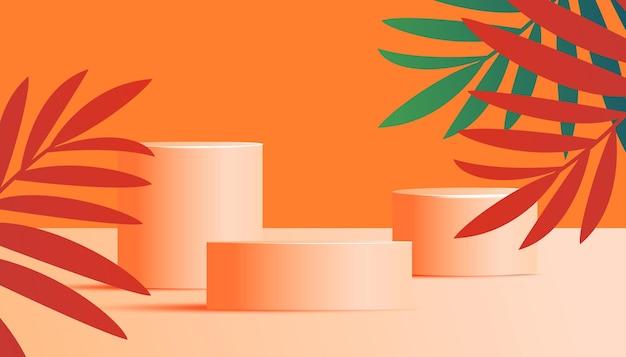 Expositor de produtos cosméticos com fundo de folhas naturais em cores de verão