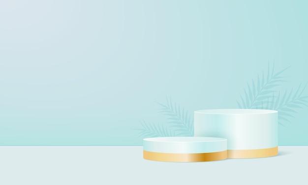 Expositor de produtos em fundo pastel de hortelã