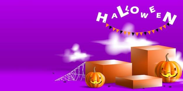 Expositor geométrico de pódio para produto com conceito de halloween