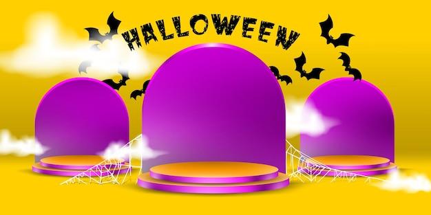 Expositor ou suporte de pódio com conceito de lápide de halloween para promoção de produtos e banner