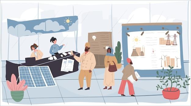 Expositores e visitantes de personagens planos de desenhos animados de vetor na conferência da exposição da indústria de energia. trabalhadores da equipe da exposição explicam, mostram estandes e apresentações para ricos empresários árabes e outros convidados