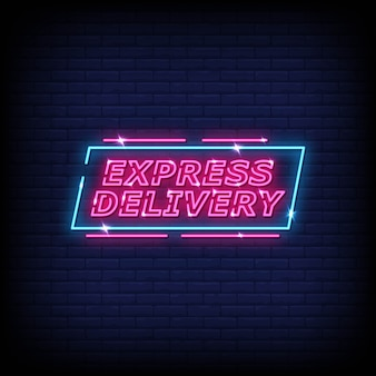 Express delivery neon signs style text vector