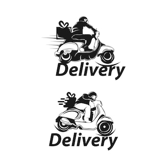 Express ground postal service by scooter concept, courier service man vector icon design