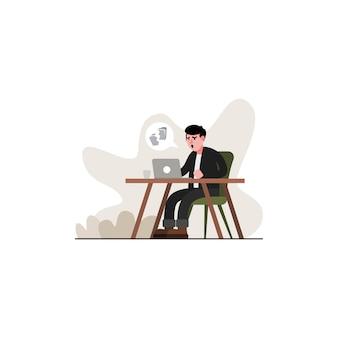 Expressão chateada por causa de um arquivo de erro, um homem está usando um laptop.