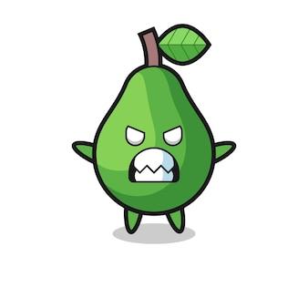 Expressão colérica do personagem mascote abacate, design de estilo fofo para camiseta, adesivo, elemento de logotipo