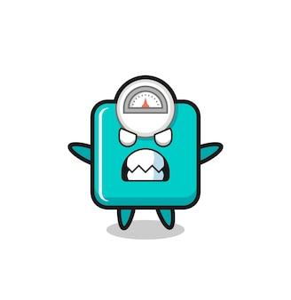 Expressão colérica do personagem mascote da escala de peso, design de estilo fofo para camiseta, adesivo, elemento de logotipo