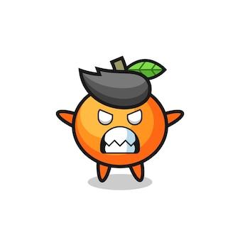 Expressão colérica do personagem mascote da laranja tangerina, design de estilo fofo para camiseta, adesivo, elemento de logotipo