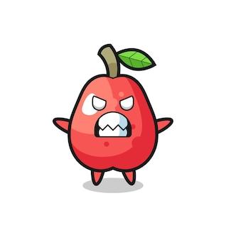 Expressão colérica do personagem mascote da maçã da água, design de estilo fofo para camiseta, adesivo, elemento de logotipo