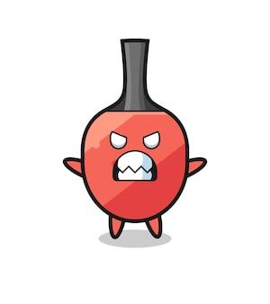 Expressão colérica do personagem mascote da raquete de tênis de mesa, design de estilo fofo para camiseta, adesivo, elemento de logotipo