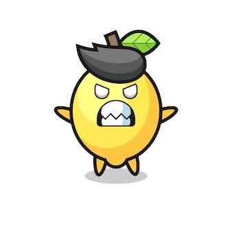 Expressão colérica do personagem mascote do limão, design de estilo fofo para camiseta, adesivo, elemento de logotipo