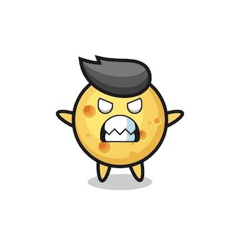 Expressão colérica do personagem mascote do queijo redondo, design de estilo fofo para camiseta, adesivo, elemento de logotipo