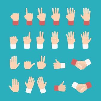 Expressão da mão com vários estilos