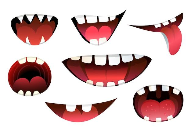 Expressão de boca de desenho animado de monstros e criaturas sorrindo com raiva e gritando com a língua isolada