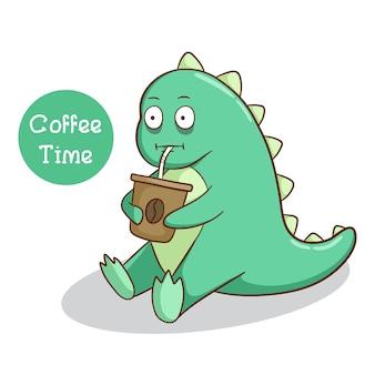 Expressão de dinossauro engraçado beber um café