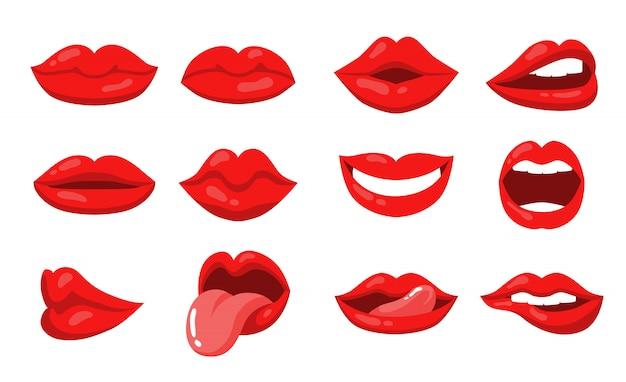 Expressão de emoção com lábios femininos e conjunto de boca